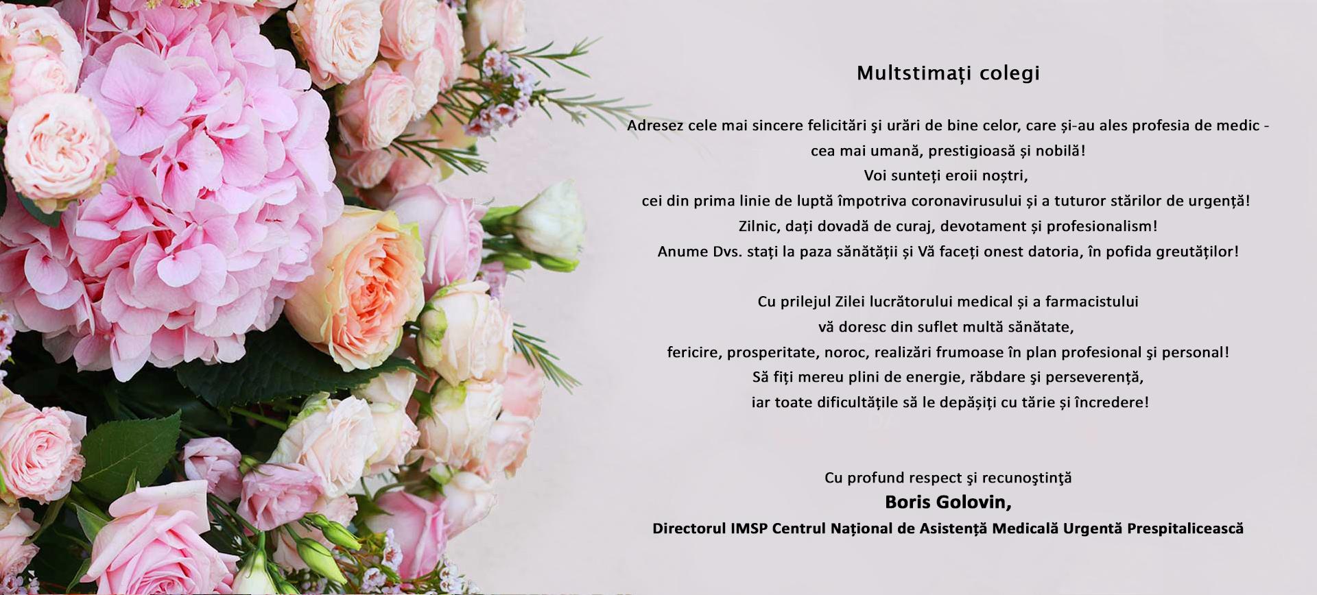 Mesajul de felicitare cu ocazia Zilei lucrătorului medical și a farmacistului