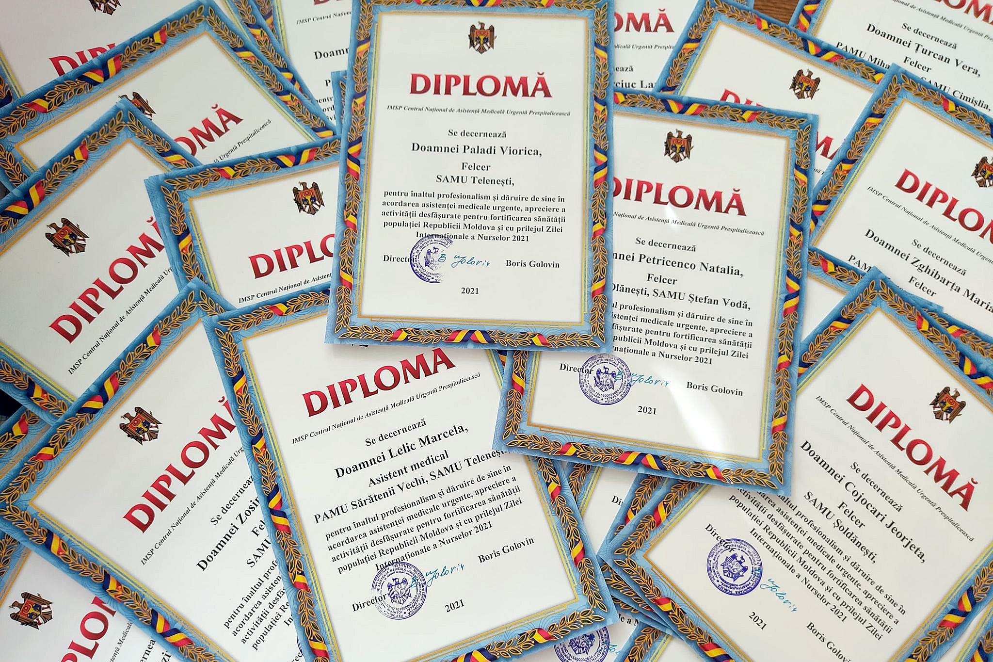 Diplome pentru cei mai apreciați asistenți medicali din cadrul IMSP CNAMUP